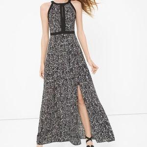 WHBM #29 black white printed maxi dress 2 small